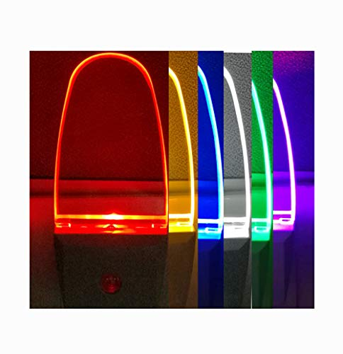 4 Pack Multicolor Night Lights, 7 Color Cycle, Plug in, Auto on Off, 0.5w LED Nightlight