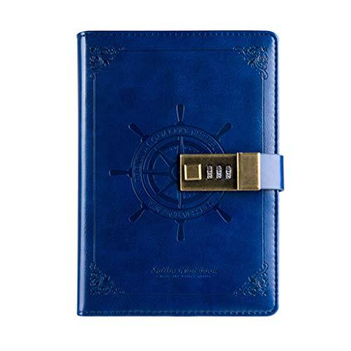 YOURPAI Passwort-Notizbuch, Vintage, B6, Notizblock, Tagebuch, Planer, Agenda, Leder, Tagebuch, Memos mit Passwortschloss, Schule, Büros, Schreibwaren