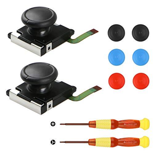 EEEKit 2-Pack 3D-Ersatz-Joystick-Analog-Thumb-Stick für den Nintendo-Schalter Joy-Con Controller - Enthalten das Tri-Wing & Cross Schraubendreher-Werkzeug + 6 Thumbstick-Kappen