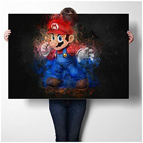 wzgsffs Super Mario Spiel PosterWandkunstAufkleber Kunstdrucke Leinwand Tuch Poster Und DruckWandkunstBild MalereiWohnkultur-60x90 cm Kein Rahmen