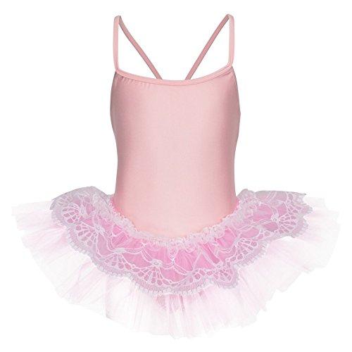 tanzmuster ® Ballettkleid Mädchen Tutu - Antonia - (Größe 92-170) aus glänzendem Lycra Ballett Trikot mit Tuturock rosa, Größe 116/122