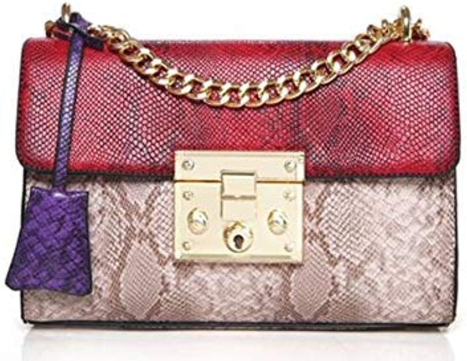 Bloomerang 2017 Kavard Mini Flap Famous Brands Luxury Handbags Women Bag Women's Handbag Hand Bag Ladies PU Leather Serpentin Crossbody Bag color Red