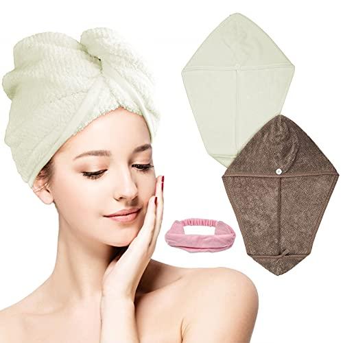 3 panni per capelli in microfibra ad asciugatura rapida, super assorbenti con bottoni,...