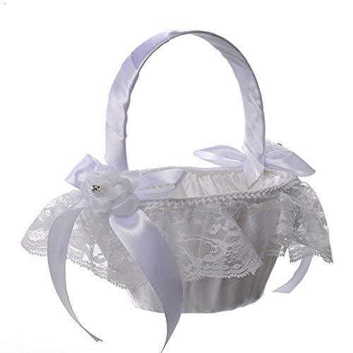 Fliyeong Premium Qualität Satin Bowknot Spitze Blumenmädchen Korb Lagerung Hochzeitszeremonie Party Supply