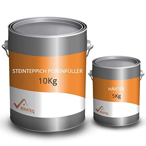 BEKATEQ BK-640EP 2K Steinteppich Porenfüller, 15 kg farblos I 2-komponentiger Epoxidharz-Porenfüller I Besonders geeignet für Küche, Bad, Garage I Porenverschluss für bessere Reinigungsfähigkeit