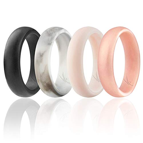 ROQ Silicone Wedding Ring for Women, Set of 4 Silicone Rubber Wedding Bands - White-Black Marble, White-Rose Gold Marble - Size 7