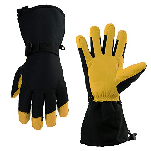 OZERO Winter Gloves, -40°F Cold Proof Thermal Skiing Glove - 150g 3M Thinsulate Insulated Cotton & 5-inch Long Sleeve - Waterproof Nylon & Cowhide Leather Palm & Good Grip for Men & Women - Yellow/XL