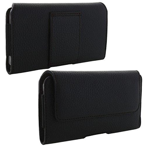 XiRRiX Echt Leder Handy Tasche 2.4 3XL Gürteltasche passend für Emporia Smart 3 / Huawei P30 P40 / Motorola Moto E6 Play/Samsung Galaxy A41 A20e S10 / Xcover 4s -Gürtel Handytasche schwarz
