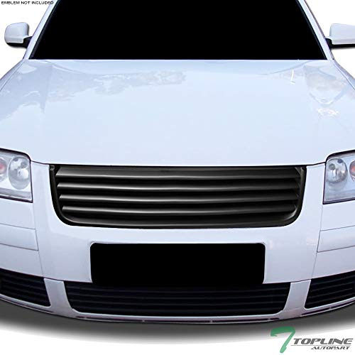 Topline Autopart Matte Black Horizontal Front Hood Bumper Grill Grille ABS For 01-05 Volkswagen Passat B5.5