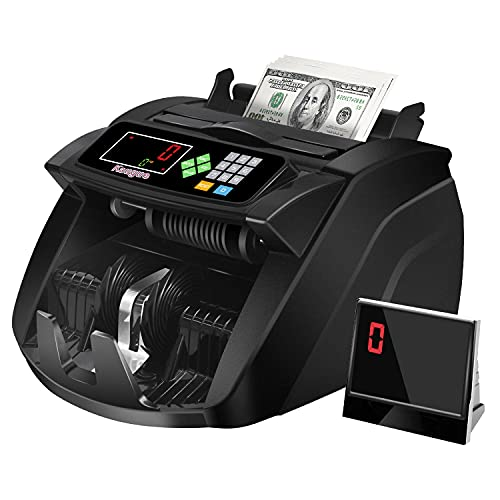 Money Counter Machine with UV/MG/IR Detection, Kaegue Bill Counting Machine with Counterfeit Cash Detection - Batch/Add/Modes, 1,400 Notes Per Minute (Value Count)