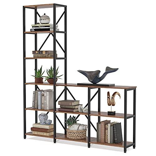 Tribesigns 9 Shelves Bookshelves, Industrial Ladder Corner Etagere Bookcase, Rustic 6-Tier Display Shelf Storage Organizer for Home Office (Rustic)