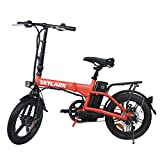 Trekpower 16 Inch Folding Electric Bike 350W Electric Bike Dual Disc Electric Bicycle City Ebike with Removable 36V/10Ah Battery(Black/Yellow/White/Red) (R)
