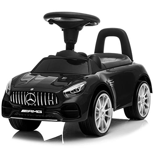 Kidzone Kids Push and Ride Racer, Licensed Mercedes AMG GT Ride On Push Car w/ Horn, Engine Sound, Under Seat Storage, Foot-to-Floor Sliding Car Pushing Cart for Toddler Gift Toy, Black
