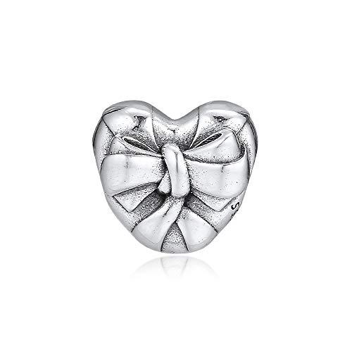 LIIHVYI Pandora Charms para Mujeres Cuentas Plata De Ley 925 Joyas con Lazo De Corazón Brillante Argenta Compatible con Pulseras Europeos Collars