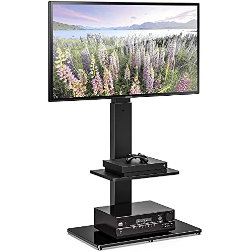 FITUEYES TV Floor Stand with Shelf for TVs up to 65 Inch LCD LED Flat/Curved Screens, Universal Swivel TV Mount Stands for Bedroom Living Room, Black Tempered Glass Base,TT207001MB