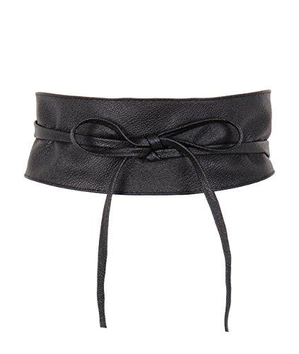 KRISP 14987-BLK-OS, Cinturón Mujer Ancho Corsé Atado Cordón, Negro (14987), talla única
