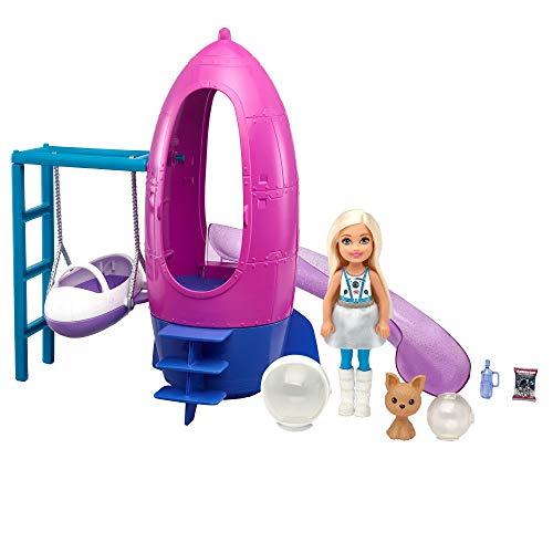 Barbie Chelsea Muñeca rubia con set de juego espacial, mascota de juguete y accesorios (Mattel GTW32)