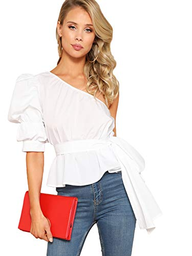 Romwe Women's One Shoulder Short Puff Sleeve Self Belted Solid Blouse White Medium