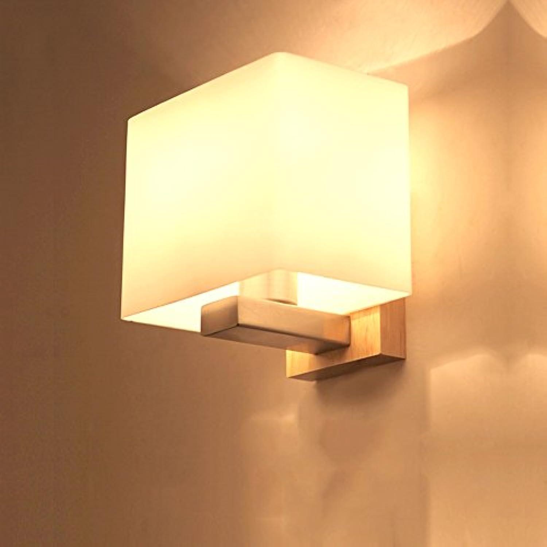Modeen Single Head E27 Holz Glas LED Wandleuchten für Indoor Home Schlafzimmer Wohnzimmer Nachttisch Deco Wandleuchten