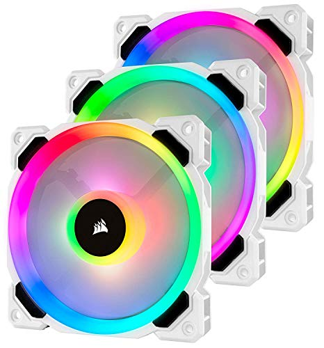 CORSAIR LL Series, LL120 RGB, 120mm RGB LED Fan, Triple Pack with Lighting Node PRO- White (Renewed)