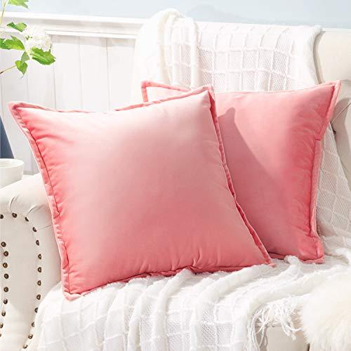 Bedsure Juego de 2 fundas de almohada de terciopelo para sofá de 20 x 20 cm, color rosa