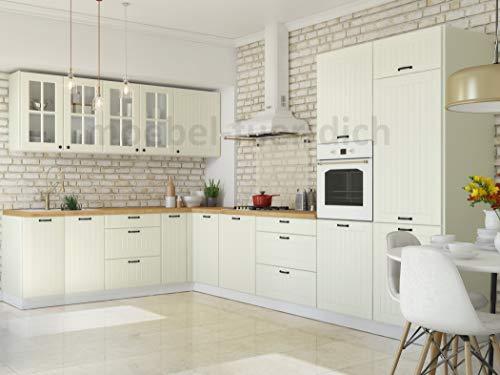 Möbel für Dich Landhaus Küchenzeile Eckküche LORA L-Form 235x365 cm, 11-teilig in Weiß, Beige oder Grau (weiß)
