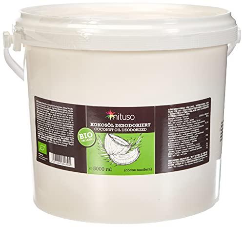 Mituso Olio di Cocco Biologico Mituso, Insapore (Deodorato), Confezione da 1 (1 X 5000 Ml) in Un Pratico Secchio - 5000 ml