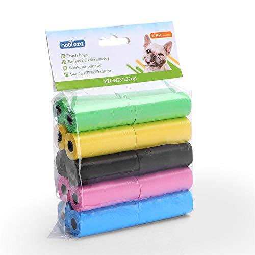 Nobleza - 300 Conde Bolsas Caca Perro Bolsas para excrementos de Perros Pack de 20 Rollos 5 Colores