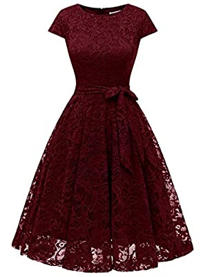 MUADRESS 6008 Women Short Lace Bridesmaid Dresses with Cap-Sleeve Formal Party Dresses Burgundy Large