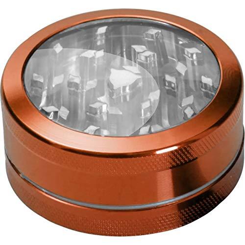Black Leaf neutraler Fenster-Grinder 2-teilig Ø 50mm | hochwertiger Aluminium anodisiert Crusher | Premium Grinder mit Fenster | orange