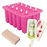 Nuovoware Ice Pop Molds, [Cavity of 10] Food Grade Silicone Frozen Ice Popsicle Makers with 100 Sticks, BPA Free, Kitchen Tools, Pink