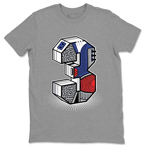 Three Statue Heather Grey T-Shirt Jordan 3 True Blue Shoe Outfit - AJ3 Match Top (Heather Grey/XX-Large)