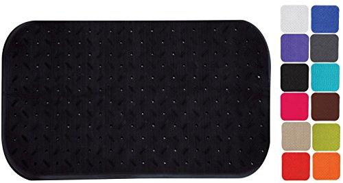 MSV Premium Duschmatte Badematte Badewannenmatte Badewanneneinlage antibakteriell rutschfest mit Saugnäpfen - Schwarz - duftet nach Rosen - ca. 36 x 65 cm - waschbar bei 60° Grad