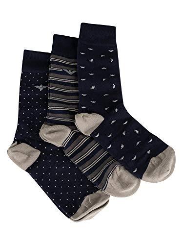 Emporio Armani Herren 3 Pack Socken, Blau, One Size