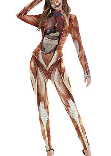 YiyiLai Halloween Festival Damen Cosplay Kostüm Jumpsuit Halloween kostüm Weihnachten S/M Muskel