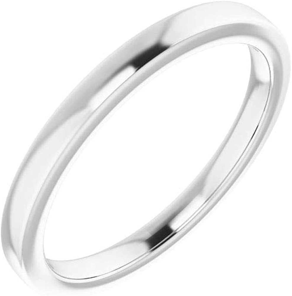 Solid 18K White Gold Curved Notched Wedding Band for 7mm Square Ring Guard Enhancer - Size 7