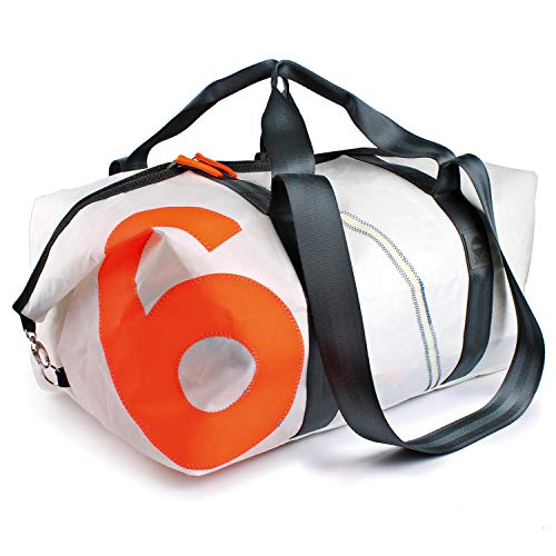 360° Grad Sport-tasche-XL, Rucksack groß, Unisex aus Segeltuch Kutter XL weiß mit Zahl Neon Orange; wetterfest, maritim