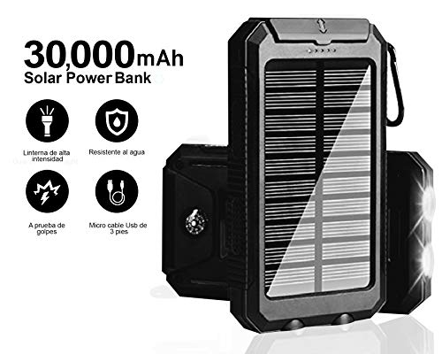 Solar Charger 30,000mAh, Solarprous Portable Dual USB Solar Battery Charger External Battery Pack Phone Charger Power Bank with Flashlight for...