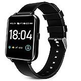 Smartwatch für Männer Frauen, 1.54' Touchscreen Fitness Tracker IP68 Wasserdicht, GPS Sportuhr mit Wettervorhersage,Pulsuhr,Musiksteuerung,Bluetooth Aktivitätstracker für Android & iOS,Schwarz