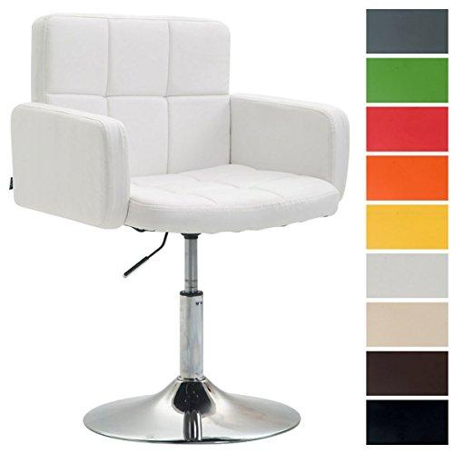 CLP Silla Lounge Los Angeles En Cuero Sintético I Butaca De Salón Giratoria & Regulable en Altura I Taburete Bajo con Reposabrazos I Color: Blanco