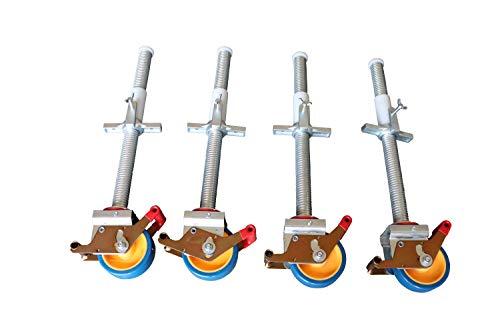 AC Steigtechnik Gerüstrollen 125 mm mit Stahlspindel, doppelt gebremst, lotrecht stehend, Set mit 4 Stück, passend zu verschiedenen Herstellern