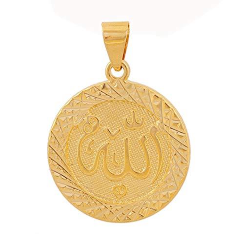 PHILSP Luftreiniger Anniyo Gold Farbe Allah Anhänger Halskette Kette für Männer Naher Osten Arabischer Schmuck A.