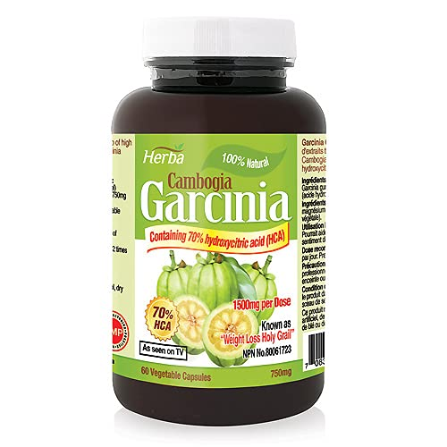 Herba Garcinia Cambogia - 100% Natural, Promote Weight Loss, Suppress Appetite and Control Cravings. High Potency, 70% HCA, 750mg, 60 Vegetable Capsules, Received NPN # 80061723 from Health Canada