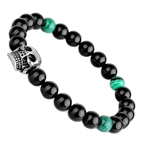 Daesar Armband Edelstahl Armband Herren Armband Schädel Armband Schwarz Armband Länge 6cm