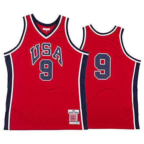 XXJJ Camiseta de baloncesto Jordan n.º 9 de los Estados Unidos 1984, sin mangas, para hombre, transpirable, de secado rápido, color rojo - XXL