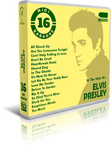 Elvis Presley - Pendrive USB OTG - Contiene 16 Midi Karaoke Al Estilo De Elvis Presley - para Teclados Midi, PC, Móvil, Tablet, Módulo o Reproductor Midi Que utilices - General Midi