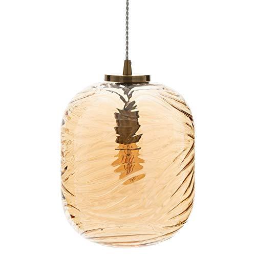 Lámpara de techo con tulipa cilíndrica de cristal y metal color bronce...