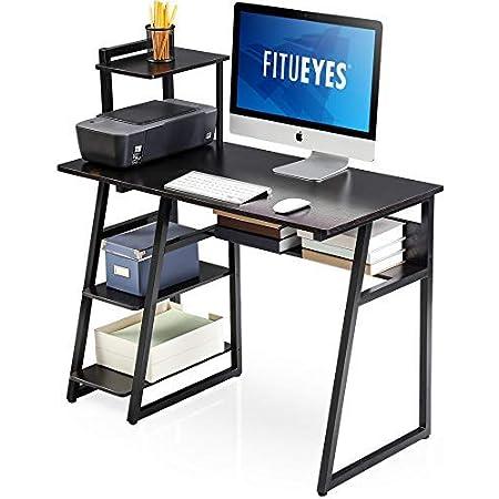 FITUEYES Bureau d'Ordinateur avec étagères Bois Noir Table d'écriture Poste de Travail pour Bureau à Domicile 103x50,5x106cm CD210301WB