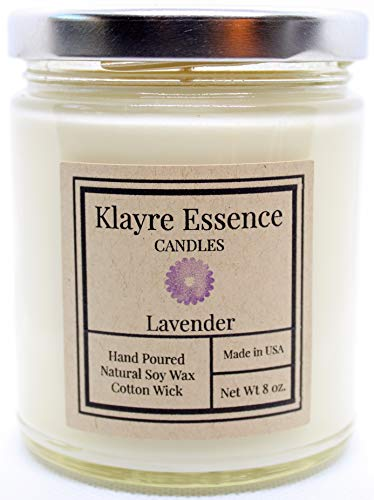 Klayre Essence | Lavender Scented Candle | Aromatherapy & Relaxation | Natural Soy Wax | Long Lasting 8 oz | Hand Poured in The USA