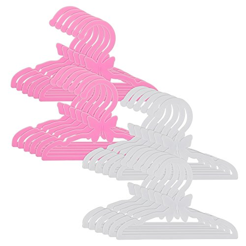 Dress Along Dolly Doll Clothes Hangers for 18 American Girl Dolls - Set of 24 Pink and White Butterfly Hangers